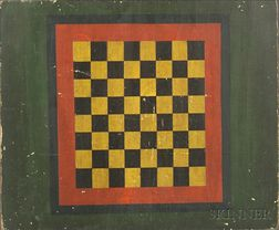 Polychrome Painted Wooden Checkerboard